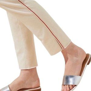LOFT Cropped Marisa Pants Tan with Red Str…